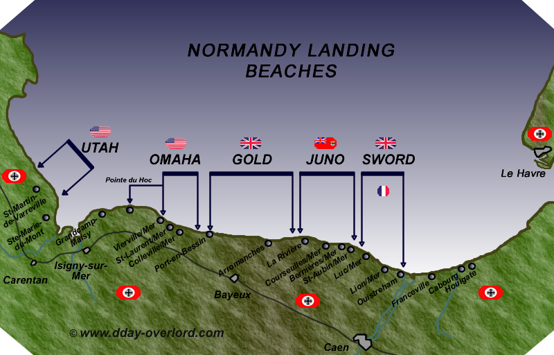 D-Day Normandy landing map